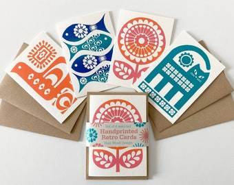 Retro Handmade Greeting Card Pack, Cat, Flower, Fish, Bird, Multi-Buy, Assorted Cards, Hand Screen-Printed, Blank Inside, Recycled Card