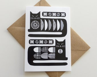 Cat Retro GREETING CARD, Mid Century Cat Lover Card, Monochrome Vintage Birthday Card, Two Black Cats Blank Greeting Card
