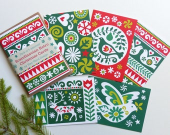 Scandinavian CHRISTMAS CARDS, Scandi Retro Xmas Card Pack, Nordic Card Pack, Traditional Christmas Cards, Folk Art Inspired