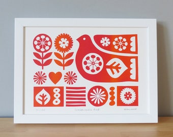 Scandinavian Bird screen print - A4 hand printed, signed LIMITED EDITION by Fran Wood Design - scandi bird and flowers