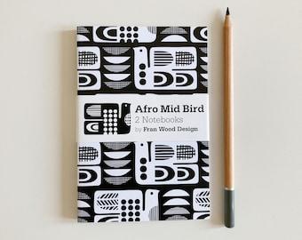 Monochrome Retro NOTEBOOKS, 2 Pocket Notebooks, Mid Century Modern Inspired Gift, Size A6, Black and White Stationary