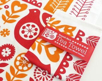Scandinavian TEA TOWEL, Scandi Kitchen Towel, Bird Floral Red Orange Dish Towel, Retro Kitchenware, Vintage, Fran Wood Design