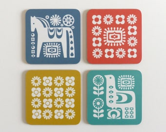 Mid Century COASTER SET, Retro Scandinavian Coasters, Dala Horse, Bird and Flowers