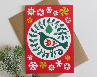 Traditional Christmas Card, Partridge in a Pear Tree, Scandi Xmas Card, Folk Art