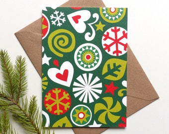 Scandinavian Christmas Card, Modern Xmas Card, Scandi, Green and Red