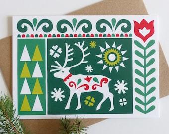 Nordic Reindeer Christmas Card, Scandinavian Xmas Card, Holiday Card, Folk Art Card