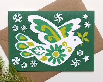 Vintage Retro Dove of Peace Christmas Card, Retro Scandi Xmas Card