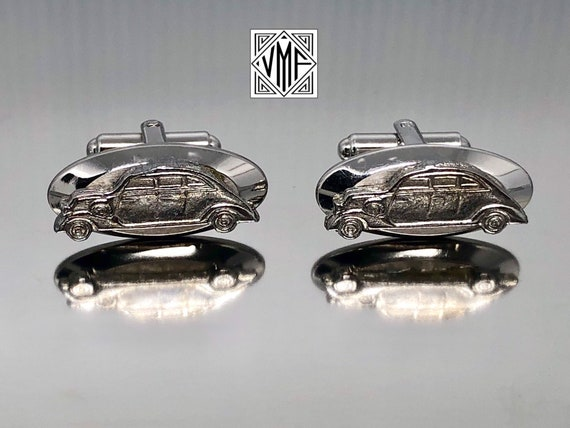 Vintage silver Hickok cuff links figural 1930s classic car automobile collectible cufflinks 1950s 1960s Mad Men mid century men/'s gift