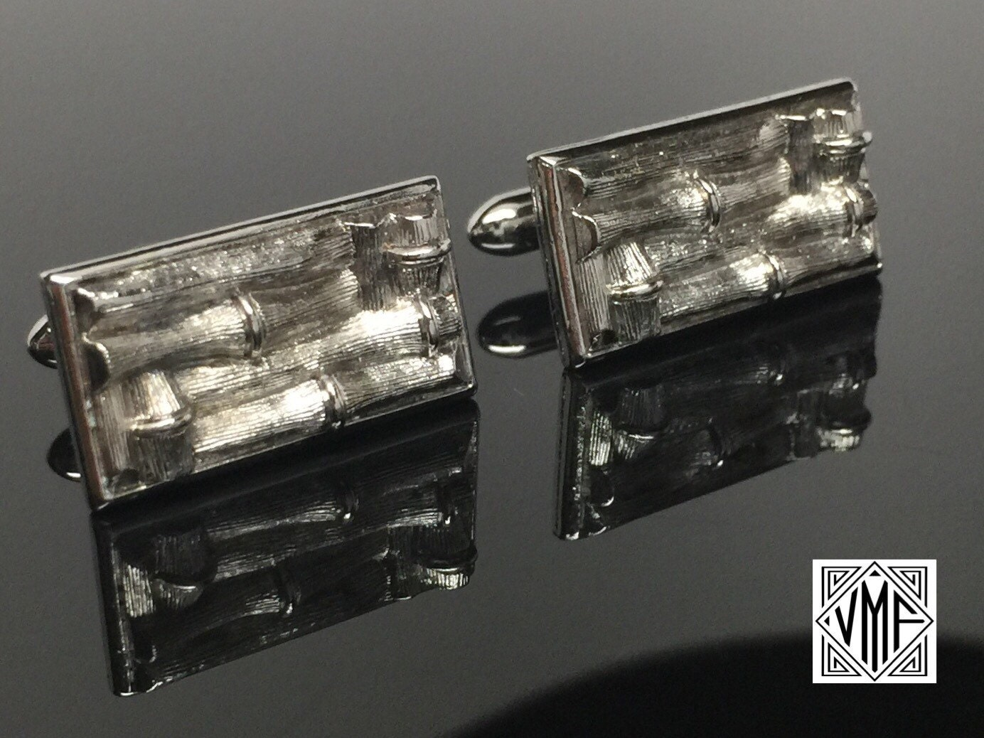 7cf2ac71523e Vintage Cufflinks, silver figural bamboo cuff links by Swank, mid ...