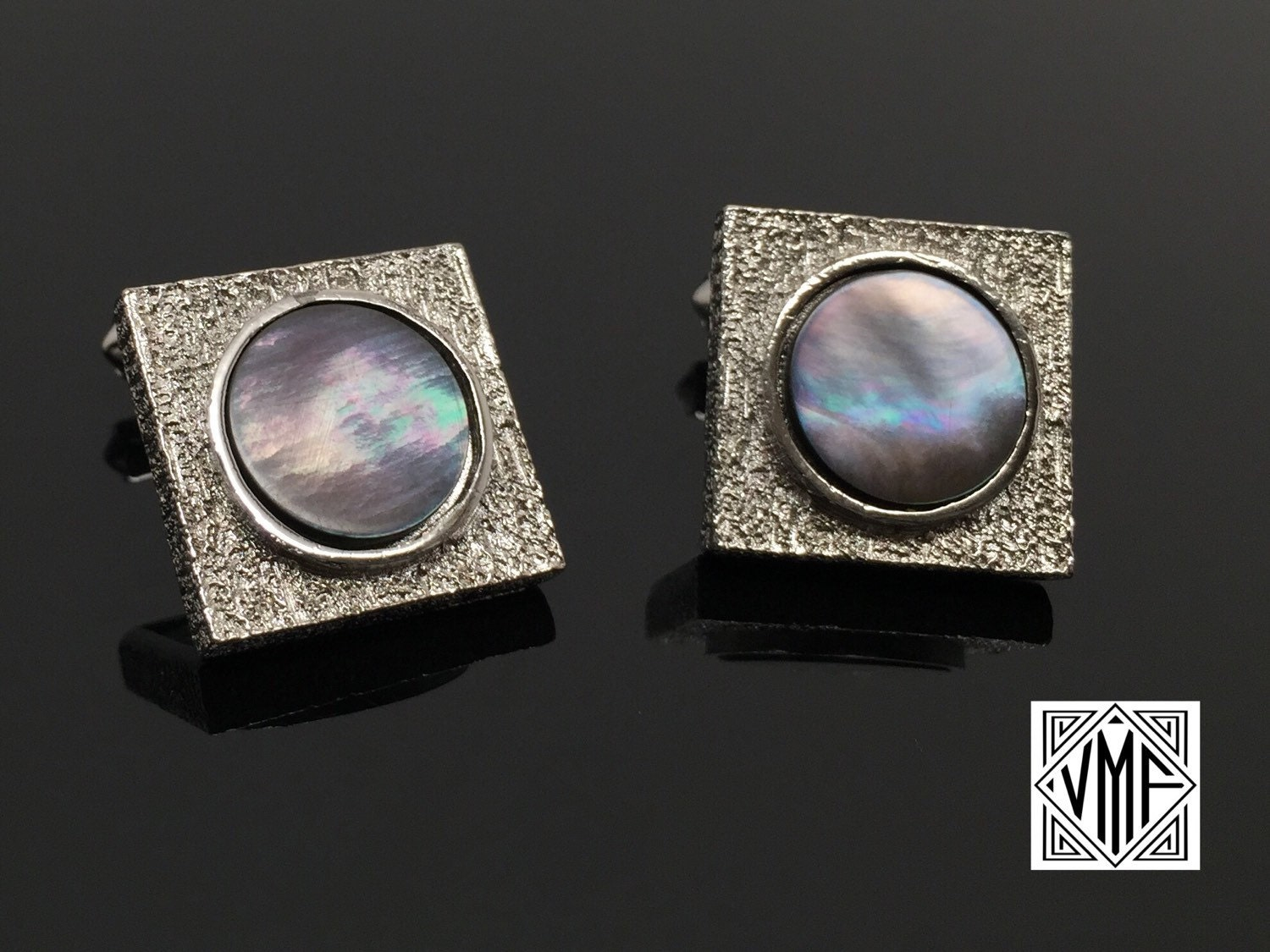 564bfb04c6ac MINT vintage cufflinks by Destino, Mad Men silver mother of pearl mod ...