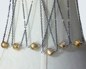 12mm Gold/&Silver Splashes Vicenza Light Turquise Crystal Murano-Perle