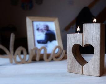 2 oak heart candle holders - oak tealight holders