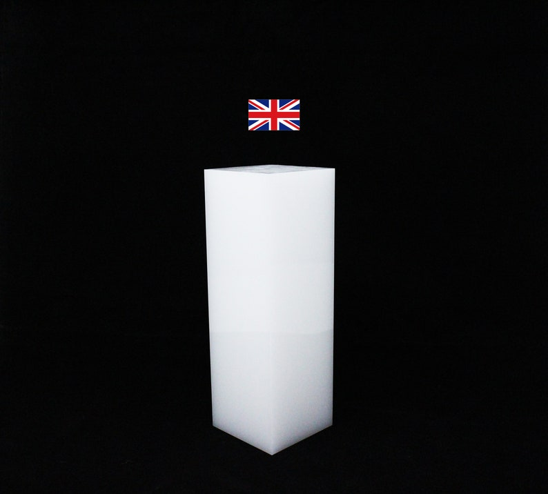 Opaque white E025 acrylic block 50mm thickness 50x50x150mm