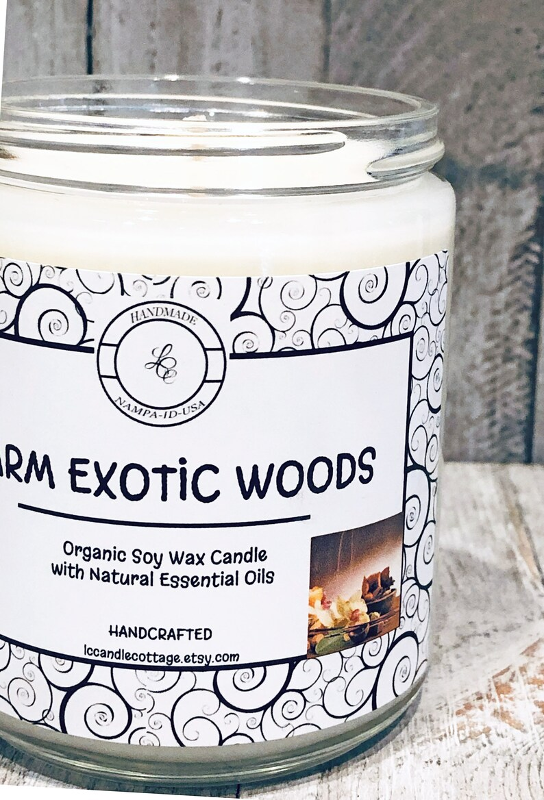 Warm Exotic Woods Natural Soy Candle Gift for Husband Gift for Dad Manly Fragrance Natural Candles Woodsy Candle Gift for Men Vegan