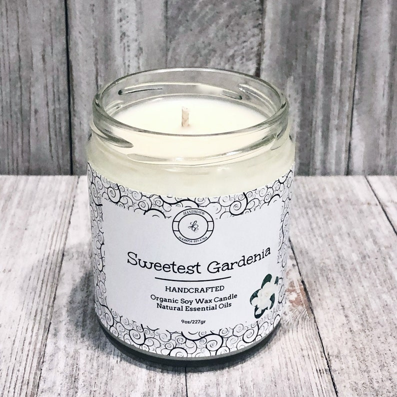 Organic Sweet Gardenia Soy Candle  Pure Extract Candle  image 0