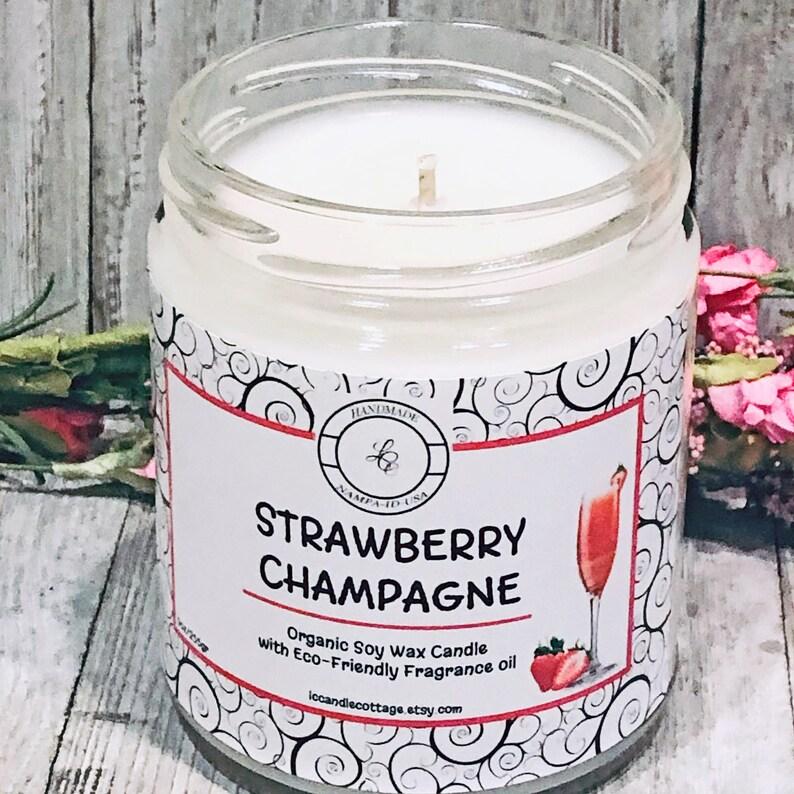 Strawberry Champagne Organic Soy Candle Vegan Valentine image 0
