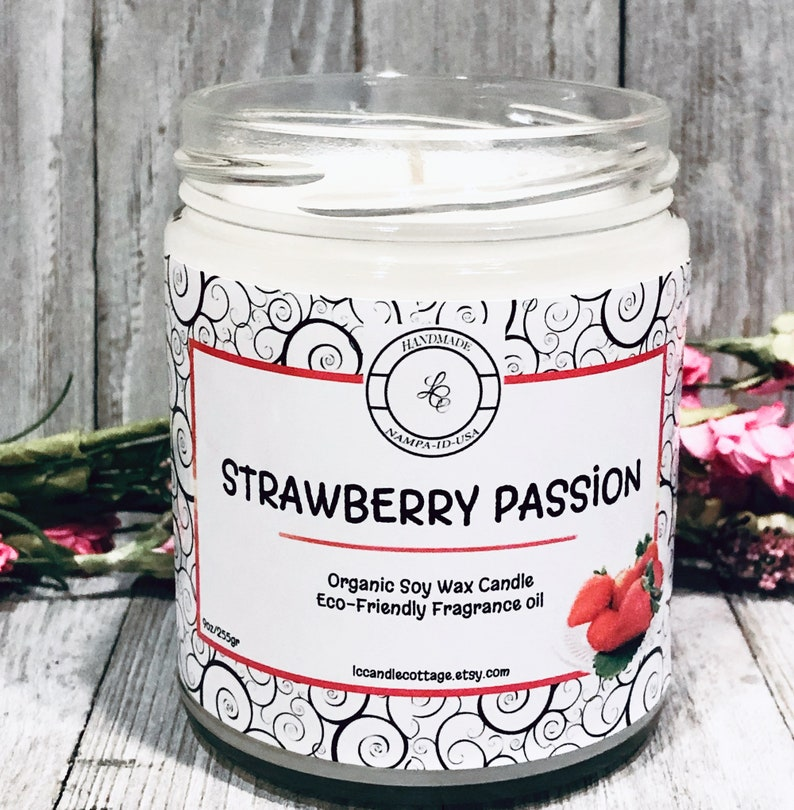 Strawberry Passion Organic Soy Wax Candle  Vegan Candles image 0