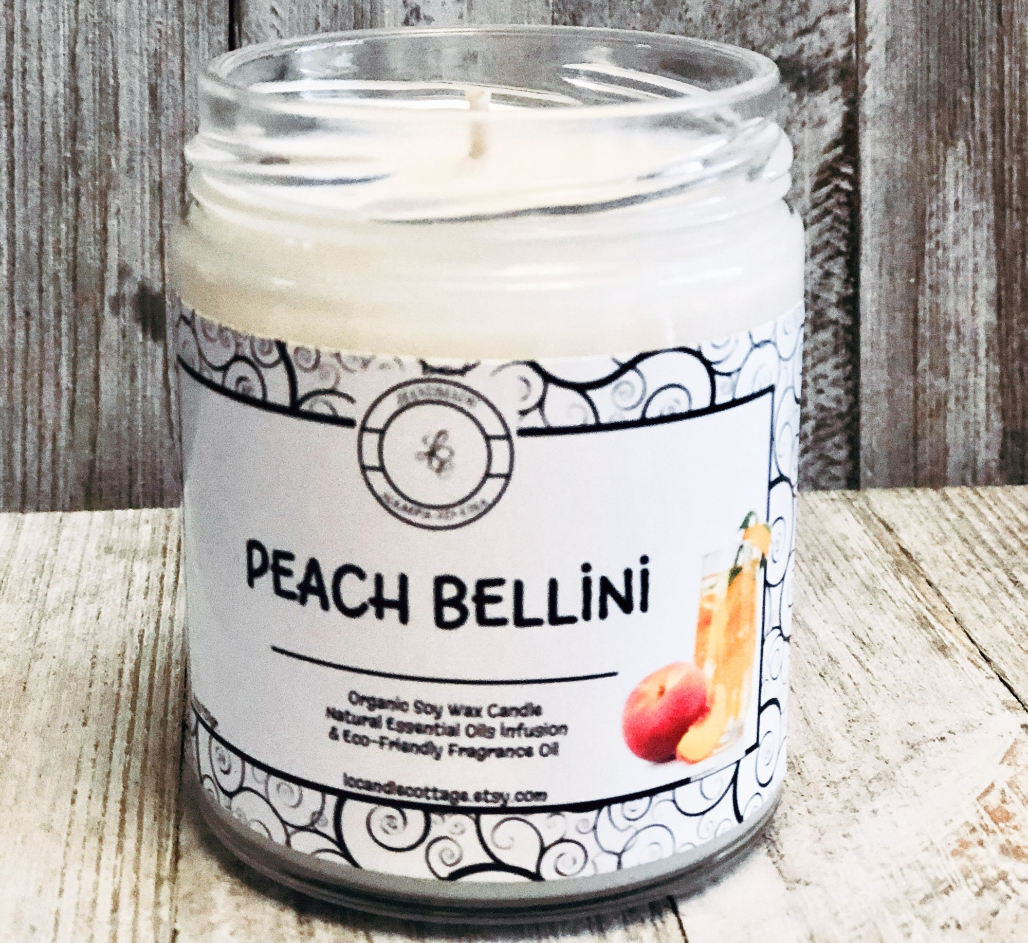 Peach Bellini Natural Soy Wax Candle  Fun Candles  Spring & Summer Candles   Vegan  Gifts Ideas  Tropical  Scented Candles