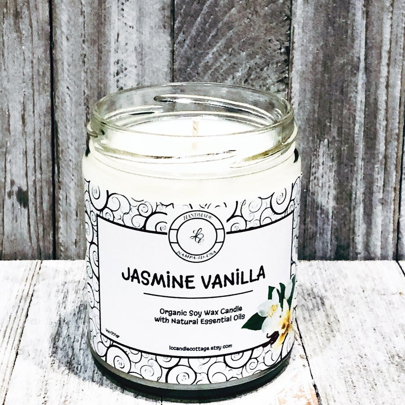 Organic Jasmine Vanilla Soy Candle  Pure Essential Oil Candle image 0