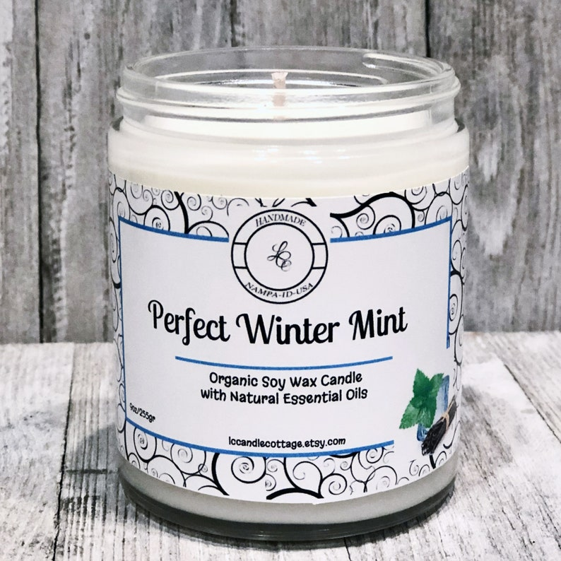 Perfect Winter Mint Organic Soy Wax Candle Natural Essential image 0
