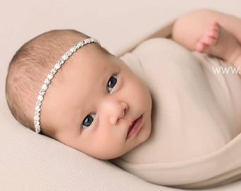 Beautiful Set of Newborn Photo Prop Head Ties Crystal Rhinestone Pearl