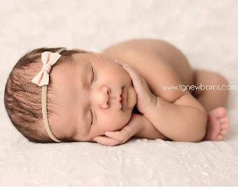 Baby Bow, Newborn Bows, Newborn Headband, Baby Headband, Photography Prop, Mini Leather Bows, Mini Leather Bows, Headbands for Babies