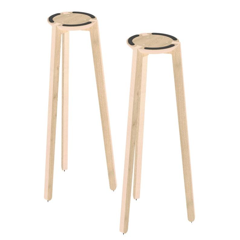 natural Wood Tripod Speaker Stand Pair
