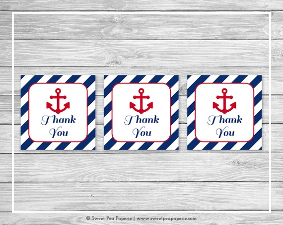Nautical Baby Shower Favor Thank You Tags Printable Baby Shower