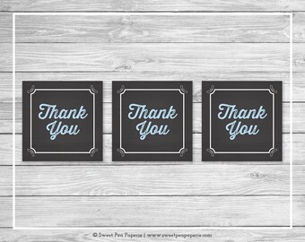 Chalkboard Baby Shower Favor Thank You Tags - Printable Baby Shower Thank You Tags - Blue Chalkboard Baby Shower - Favor Tags - SP156