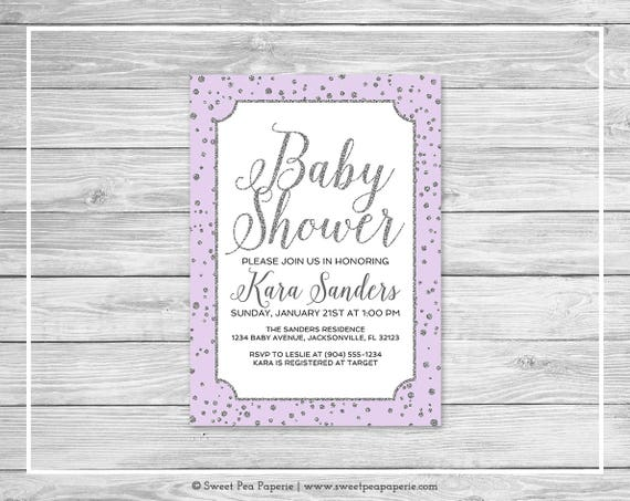 Purple and silver baby shower invitation printable baby etsy image 0 filmwisefo