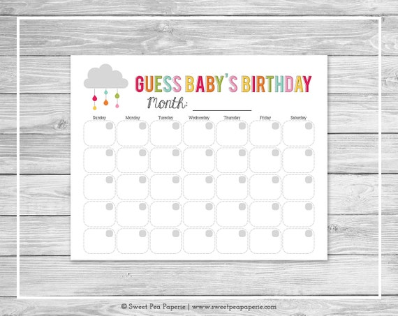 Baby Calendar May : Rainbow showers baby shower guess s birthday etsy