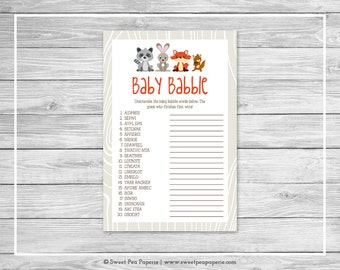 Woodland Animals Baby Shower Baby Babble Game - Printable Baby Shower Baby Babble Game - Woodland Animal Baby Shower - Word Scramble - SP105