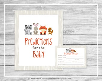 Woodland Animals Baby Shower Predictions for Baby - Printable Baby Shower Predictions for Baby Cards - Woodland Animals Baby Shower - SP105