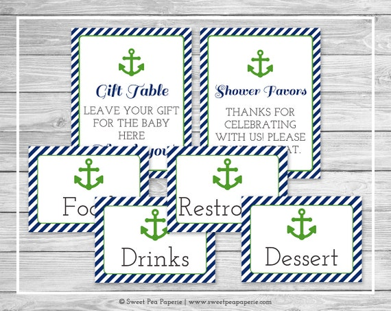 nautical baby shower table signs printable baby shower table etsy