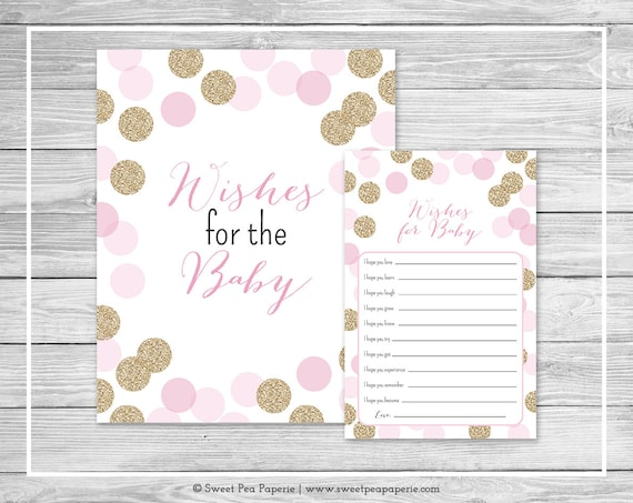 Pink And Gold Baby Shower Wishes For Baby Cards Printable Etsy