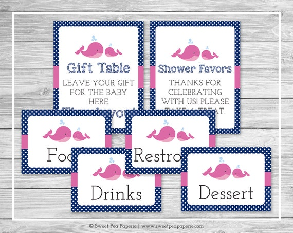 Whale Baby Shower Table Signs Printable Baby Shower Table Etsy