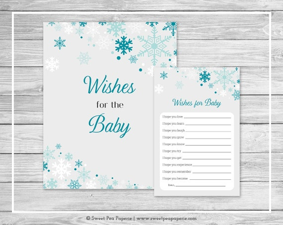 Winter Wonderland Baby Shower Wishes For Baby Cards Printable Baby