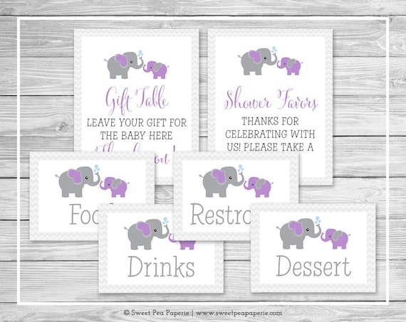 elephant baby shower table signs printable baby shower table signs