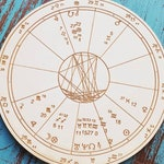 Custom Wood Engraved Astrology Chart - Natal Chart - Birth Chart- Gift - 6 9 and 12 inch