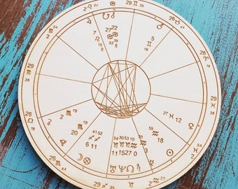 Custom Wood Engraved Astrology Chart