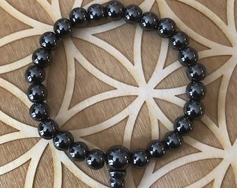 Hematite Power Bracelet - Hematite Beaded Bracelet - 8mm Beads -  Root Chakra - 1st Chakra - Grounding - Protection - Reiki - Energy Healing