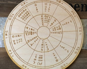 Custom Wood Engraved Astrology Chart Natal Chart Birth | Etsy
