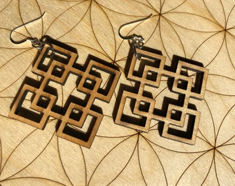 Squares Squared Wooden Earring - Alder Wood - Sacred Geometry - Wood Cut Earrings - Sterling Silver - Square