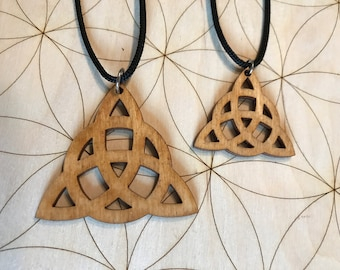 Triquetra Wooden Pendant - Small and Large - Natural Birch Stained