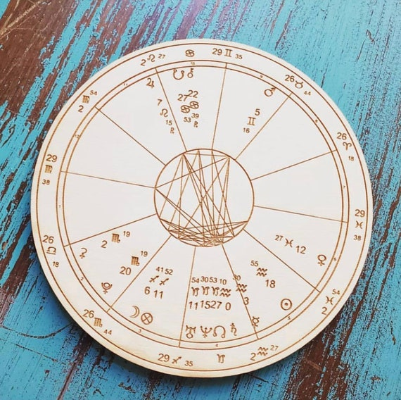 Custom Wood Engraved Astrology Chart Natal Birth
