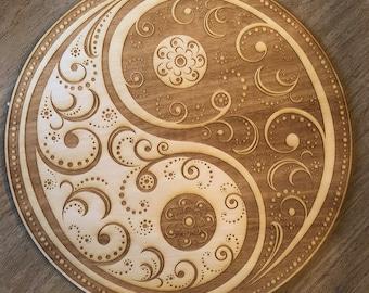 Yin Yang Mandala Crystal Grid   - Altar Decoration