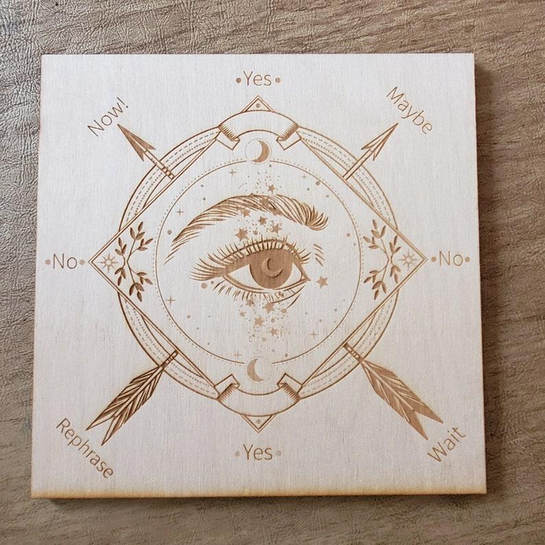 Wood Engraved Pendulum Board 3 Crystal Grid  Altar image 0
