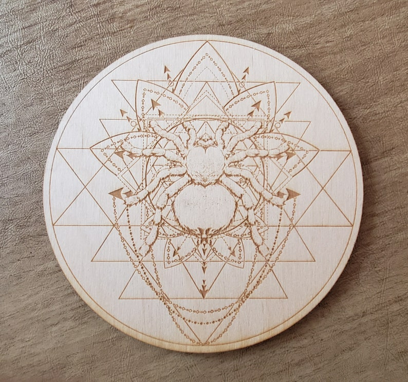 Spider Sri Yantra Crystal Grid   Wall Art  Altar Decoration image 0