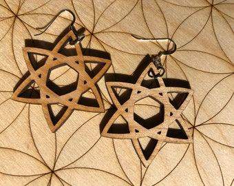 Celtic Star Wooden Earrings - Alder Wood - Sacred Geometry - Wood Cut Earrings - Sterling Silver