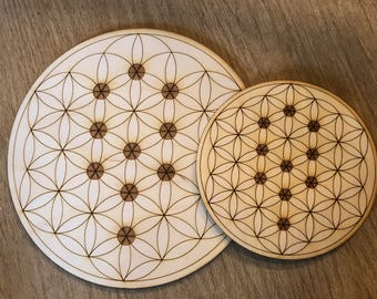 Crystal Grid - Flower of Life - Tree of Life - 3, 6, 9, or 12 Inches - Wooden Crystal Grid - Sacred Geometry - Wood Crystal Grid